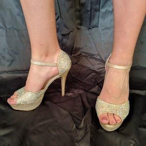 Gem-studded, beige high heels
